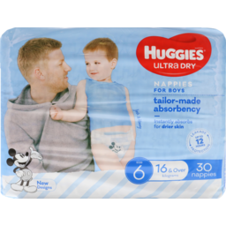 Photo of Huggies Ultra Dry Nappies Junior Boy 30pk