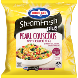 Photo of Birds Eye Steamfresh Plus Pearl Couscous With Check Peas & Carrot, Peas, Spinach, Onion, Capsicum With A Hint Of Paprika, Chilli & Cinnamon 2 Bags 400