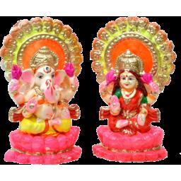 Photo of Laxmi & Ganesh Clay Idol 4 Inch