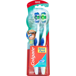 Photo of Colgate 360° Whole Mouth Clean Compact Head Toothbrush Medium 2pk