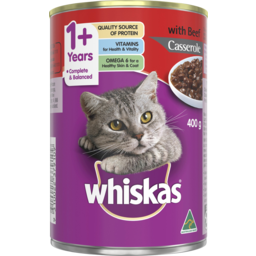 Photo of Whiskas Adult Wet Cat Food Beef Casserole 400g Can