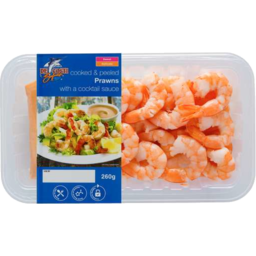 Photo of De Costi Cooked And Peeled Prawns With A Cocktail Sauce 260gm