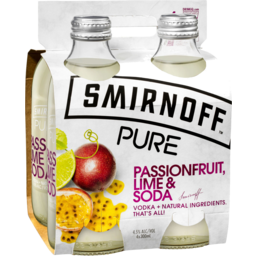 Photo of Smirnoff Pure Passionfruit, Lime & Soda 300ml (4 Pack)