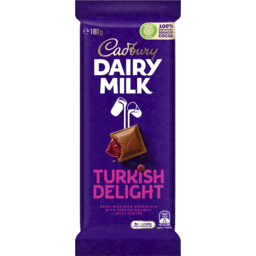 Photo of Cadbury Dairy Milk Turkish Delight Milk Chocolate Block 180g