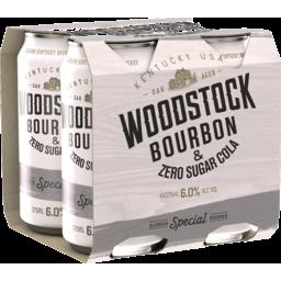 Photo of Woodstock Bourbon & Zero Sugar Cola 6% 4x375ml