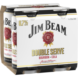 Photo of Jim Beam White & Cola Double Serve 6.7% 375ml 4 Pack