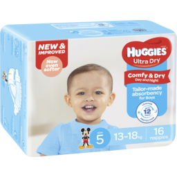 Photo of Huggies Ultra Dry Nappies Walker Boys 16pk