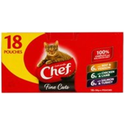 Photo of Chef Cat Food Pouch, Fine Cuts Variety 18 Pack