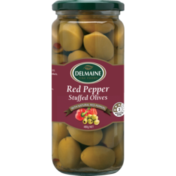 Photo of Delmaine Red Pepper Stuffed Olives Red Pepper Stuffed Olives 480g