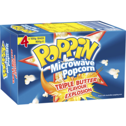 Photo of Poppin Microwave Popcorn Triple Butter Flavour Explosion 4x100gm