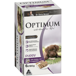 Photo of Optimum Puppy Wet Dog Food With Chicken, Rice & Vegetables 6x100g Trays