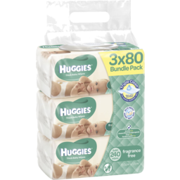 Photo of Huggies Fragrance Free Baby Wipes Bundle Pack (Pack Of 240), 240 Wipes (3 X 80 Pack)