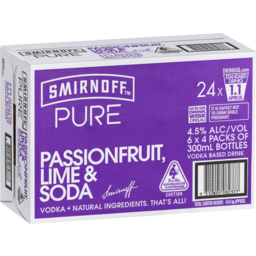 Photo of Smirnoff Pure Passionfruit, Lime & Soda Stubbies