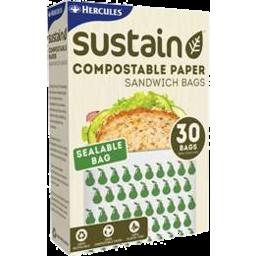 Photo of Hercules Sustain Compostable Paper Sandwich Bag 30pk