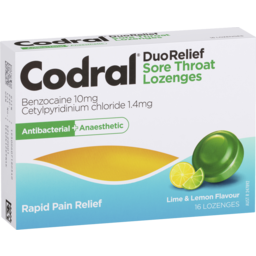 Photo of Codral Duo Relief Sore Throat Lozenges Antibacterial + Anaesthetic Lime & Lemon 16 Pack