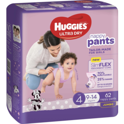 Photo of Huggies Ultra Dry Nappy Pants Girl Size 4 (9-14kg) 62 Pack