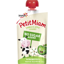 Photo of Yoplait Petit Miam No Added Sugar + Probiotics Vanilla & Apple Yoghurt Pouch 70g