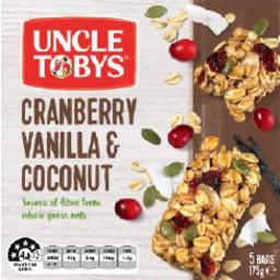 Photo of Uncle Tobys Muesli Bar Cranberry Vanilla & Coconut 175gm