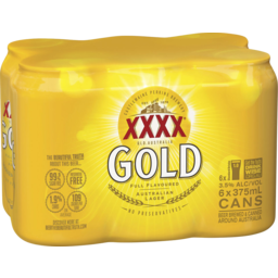 Photo of XXXX Gold Can 375ml 6 Pack