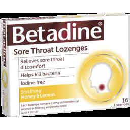 Photo of Betadine Sore Throat Lozenges Honey & Lemon 16 Pack