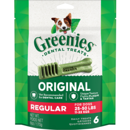 Photo of Greenies Dental Treats Original Regular Dog Treats 6 Pack 170g