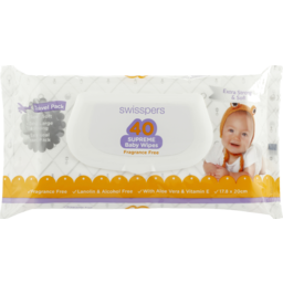 Photo of Swisspers Baby Wipes Travel Unscented 40s