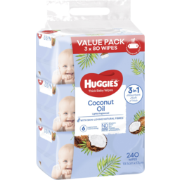 Photo of Huggies Thick Baby Wipes Lightly Fragranced Coconut Oil 3x80 Value Pack