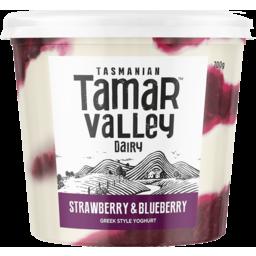 Photo of Tamar Valley Dairy Tamar Valley Greek Style Yoghurt Strawberry & Blueberry 700g