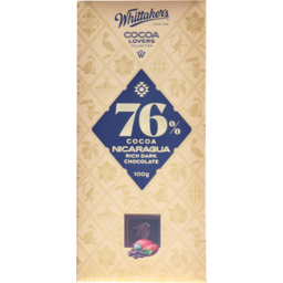 Photo of WHITTAKERS Whittaker's Cocoa Lovers Collection Rich Dark Chocolate 76% Cocoa Nicaragua 100g