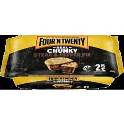 Photo of Four 'N Twenty Four N' Twenty Real Chunky Steak & Pepper Pie 2x400g