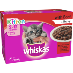 Photo of Whiskas Cat Food Pouch Kitten Beef 12 Pack