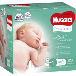 Photo of Huggies Newborn Nappies Size 1 (Up To 5kg) 108 Pack (Jumbo)