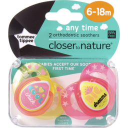 Photo of Tommee Tippee Closer To Nature Any Time Soothers, 2x6m