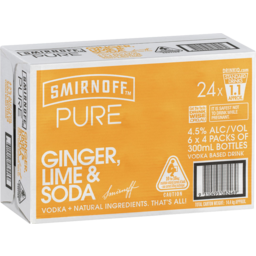 Photo of Smirnoff Pure Ginger, Lime & Soda Stubbies