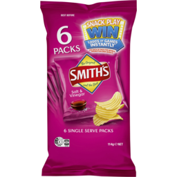 Photo of Smith's Crinkle Cut Salt & Vinegar Potato Chips 6 Pack 114g