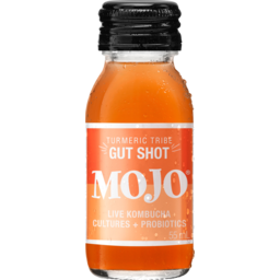 Photo of Mojo Turmeric Tribe Gut Shot Live Kombucha Cultures + Probiotics 55ml