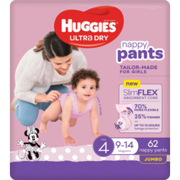 Photo of Huggies Ultra Dry Nappy Pants For Girls 9-14kg Size 4 Jumbo 62 Pack