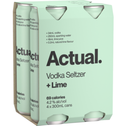Photo of Actual Vodka Seltzer & Lime Cans