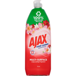 Photo of Ajax Floor Cleaner Multi Surface Long Last Fragrance Tropical Breeze 100% Recycled Bottle 750ml