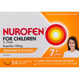 Photo of Nurofen Pain Relief Chewable Capsules For Children 7+ 100mg Orange 241