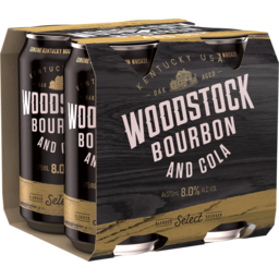 Photo of Woodstock Bourbon & Cola 8% 375ml 4 Pack