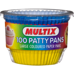 Photo of Multix Baking Aids Patty Pans Large Coloured X 100