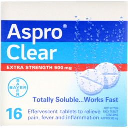 Photo of Aspro Clear Extra Strength 500mg 16pk