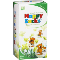 Photo of Gel Pack Naturally Degradable Nappy Sacks Odour Neutralising 200 Bags