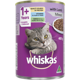 Photo of Whiskas Adult Wet Cat Food Lamb Mince 400g Can
