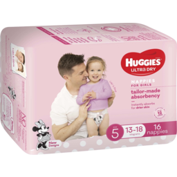 Photo of Huggies Ultra Dry Nappies, Girls, Size 5 Walker (13-18kg), 16 Nappies Convenience Packs