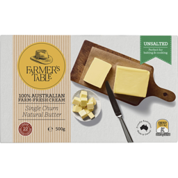 Photo of Farmer's Table Unsalted Butter 500g