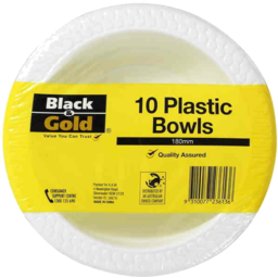 Photo of Black & Gold 10 Plastic Bowls 180