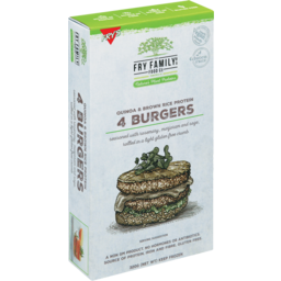 Photo of Frys Family Food Co Burgers Quinoa & Brown Rice Protein 4 Pack 360gm
