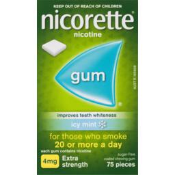 Photo of Nicorette Quit Smoking Nicotine Gum Icy Mint Extra Strength 75 Pack